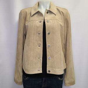 Genuine Leather Suede Jacket Tan Tailored Fit L
